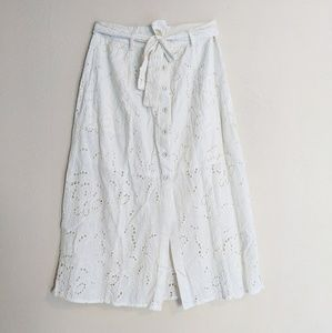 White Lace Summer Skirt with Buttons & Tie Waist